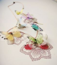 Lace Butterfly Lariat Necklace Ready to Ship and Open by jewelera Butterfly Jewelry, Bird Jewelry, Fabric Jewelry, Jewelry Art, Jewelery, Textile Jewelry, Animal Jewelry, Jewelry Ideas, Lariat Necklace