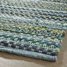 Pinstripe Jade Green Cotton Rag Rug - Crate and Barrel Weaving Textiles, Weaving Patterns, Entryway Rug, Weaving Projects, Recycled Fabric, Green Cotton, Woven Rug, Crate And Barrel, Chunky Yarn