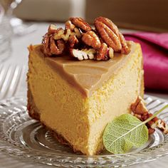 Pumpkin-Pecan Cheesecake  Test Kitchen Professional Pam Lolley combined the flavors of three favorites—pumpkin pie, pecan pie and cheeseca...