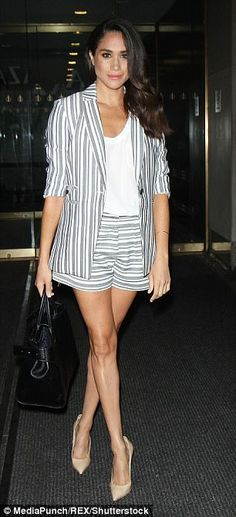 The brunette has shunned her signature leg-baring shorts, left, in favour of more modest e...