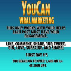 Everyone - Yesterday we started our viral marketing campaign -- The admin set up accounts in several social media platforms. FB Fan Page, Twitter, G+, YouTube, and Pintrest. we need your engagement to make this marketing strategy work and work BIG!