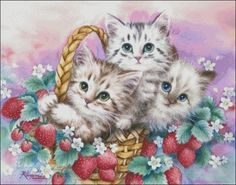 Chart Needlework DIY Counted Cross Stitch Pattern PDF Cats with Strawberries | eBay