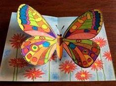 Motýli – prostorový obrázek - New Ideas Butterfly Crafts, Butterfly Art, Spring Art, Summer Art, 2nd Grade Art, Art Lessons Elementary, Elementary Schools, Preschool Art, Animal Crafts