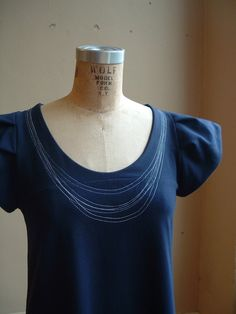 Necklace Dress Navy Cotton Jersey made to order by outofline, $120.00