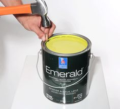 Prevent paint from drying and sealing a paint can lid by puncturing holes around the rim of the can. Nothing more frustrating than trying to pry open a paint can that's sealed with dried paint. To prevent this, puncture holes along the inner rim to allow the paint to drip back into the can.