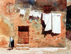 Wash Day in Monteriggioni by Carl Purcell 11 x 14 watercolor - BoldBrush Painting Competition Winners Art Aquarelle, Watercolor Artists, Watercolor Techniques, Watercolour Painting, Painting & Drawing, Watercolors, Watercolor Illustration, Watercolor Architecture, Watercolor Landscape