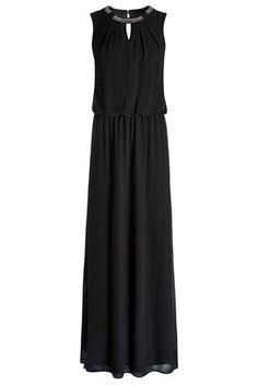Maxi φόρεμα με διακοσμητικά strass στη λαιμόκοψη μαύρο - Next | Stilago