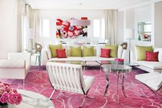 White Contemporary Living Room with Pink Silk Rug