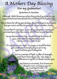 To my GodMother on Mothers Day