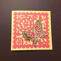 Cricut Cindy Loo for background and Everyday Pop-up Cards for the butterfly cut in different sizes Cindy Lou, Cricut Cards, Butterfly Cards, Pop Up Cards, Handmade Cards, I Card, Card Ideas, Card Making, Scrapbooking