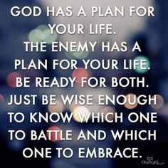 """God has a plan for your life. The enemy has a plan for your life. Be ready for both. Just be wise enough to know which one to battle and which one to embrace."""