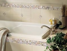 Daltile Details: Photo features Almond 6 x 8 field tile with City Lights in Hollywood x mosaic on wall and tub surround. Bathroom Tile Designs, Bathroom Design Luxury, Bathroom Layout, Bathroom Ideas, Shower Ideas, Bath Ideas, Bathroom Organization, Bathtub Tile Surround, Bathroom Floor Plans