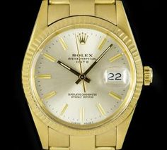 Rolex Date Vintage Gents 18k Yellow Gold Silver Dial B&P 15038