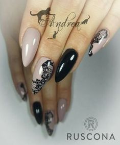 Black and nude lace nails Lace Nail Design, Lace Nail Art, Lace Nails, Flower Nails, Nail Art Designs, Nails Design, Sexy Nails, Stiletto Nails, Trendy Nails