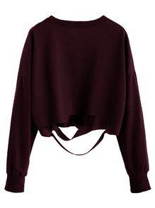 Burgundy Drop Shoulder Cut Out Crop T-shirt