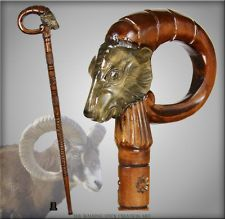 RAM TOP FOLK ART NATURAL HANDLE WOOD CARVED CRAFTED WALKING STICK CANE STAFF
