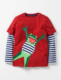 I love layered t-shirts on boys and this bright fun frog one for kids makes me smile! Layered Fun Animal T-shirt #affiliate