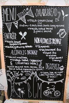 Love the idea of posting the menu on a board like this for a fun outdoor reception