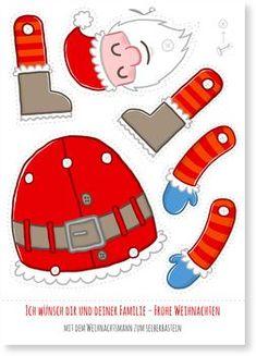 "Christmas card – ""Santa Claus for crafts"" … - Christmas Ideas Kindergarten Christmas Crafts, Christmas Paper, Christmas Activities, Christmas Crafts For Kids, Xmas Crafts, Christmas Printables, Vintage Christmas, Christmas Cubical Decorations, Christmas Things To Do"