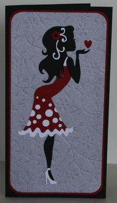 """Card I made using the Cameo """"blowing kisses"""" file"""