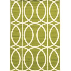 Power Loomed Claremont Links Green/Creme Polypropylene Rug (8' X 10')