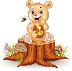 Little Bear Cartoon, Funny Babies, Cute Babies, Fun Baby, Bee Pictures, Cute Cartoon Images, Cartoon Fun, Baby Painting, Bear Illustration