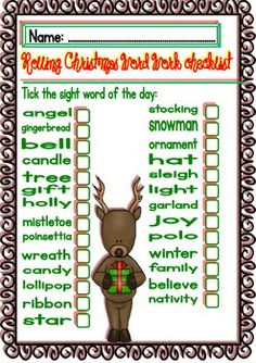 Language Arts  3rd Grade It gives learning Sight Words a holiday spin and makes it fun for the kids.