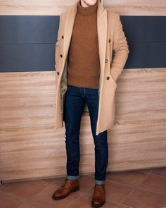 Post with 1624 views. Textured Knitwear (Aran, Cable, and Fisherman Sweaters) Large Men Fashion, Mens Fashion, Fashion Outfits, Tan Overcoat, Sweater Outfits, Men Sweater, Stylish Mens Outfits, Stylish Man, The Fashionisto