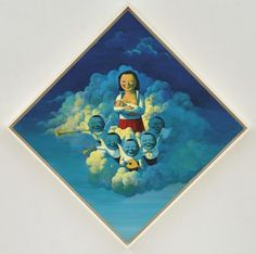 painting from chinese artist Liu Ye, MADONNA WITH NAUGHTY BOYS (blue) on ArtStack #liu-ye-liu-ye #art