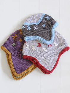 Flurry Flap Hats, free pattern by Blue Sky Alpacas. Baby, child and adult size.