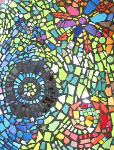 beautiful mosaic- idea to use color paper with black background- shape study