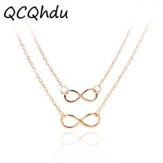 Women Necklaces Pendants Multi Layer Necklace Gold Silver Plated Chain Double Infinity Choker for Girl Gift Jewelry  Price: 0.09 USD