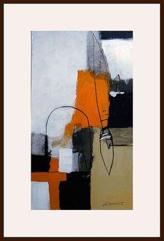 8x14 original abstract acrylic painting on paper by kuzennyArt
