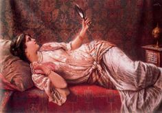 Odalisque by Francesco Ballesio. Handmade oil painting reproductions for sale, Always custom made on premium grade canvas by talented artists. European Paintings, Victorian Paintings, Pierre Auguste Renoir, Italian Painters, Oil Painting Reproductions, Poses, Beautiful Paintings, Lovers Art, Female Art