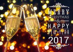 Zakelijke kerstkaart proostende champagneglazen