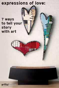 Heart Wall Sculptures by Anthony Hansen available at www.artfulhome. Read more about how to express love using art at Artful Life blog.