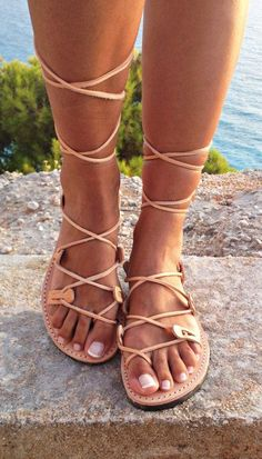 Greek lace up sandals