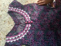 فستان بيت صيفي Salwar Neck Designs, Kurta Neck Design, Dress Neck Designs, Kurta Designs Women, Designs For Dresses, Sleeve Designs, Blouse Designs, Kurta Patterns, Dress Patterns