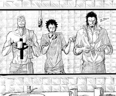 Marco, Law, Mihawk << THE CAMERA IN THE BACKGROUND THOUGH.