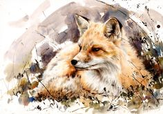 "Saatchi Online Artist: Lucy Newton; Paint, Mixed Media ""Winter Fox"""
