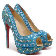 Christian Louboutin Bollywoody 140mm Peep Toe Pumps Blu Sito Ufficiale