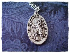 """Silver Saint Christopher Medallion Necklace on 20"""" Chain"""