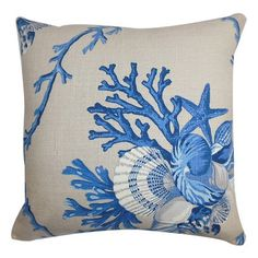 Sealife Throw Pillow in Natural Blue - Nautical & Serene... @Joss Henry and Main pinned by wickerparadise.com