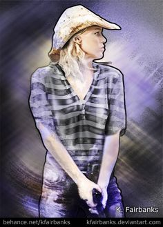 Digital painting of actress Laurie Holden as Andrea from the TV show The Walking Dead -  by K Fairbanks