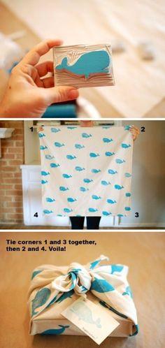 DIY Printed fabric present wrap