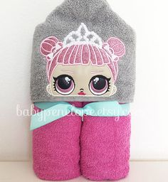 L.O.L Surprise Dolls -Center Stage - Ballerina - Hooded Towel - L.O.L Birthday gift - L.O.L Theme - Personalized L.O.L gift for girl