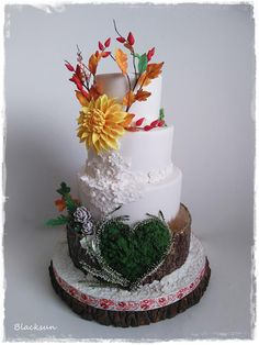 Wedding cake :) by Blacksun Wedding Cake Fresh Flowers, Fall Wedding Cakes, Unique Wedding Cakes, Autumn Wedding, Pretty Cakes, Beautiful Cakes, Amazing Cakes, Take The Cake, Love Cake