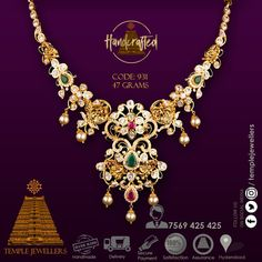 CZ Pachi Designer Necklace 47 grams / 916 KDM Gold Temple Jewellers / 7569 425 425