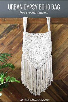 "(Personal thoughts: use Paracord or leather thong string? This boho bag free crochet pattern is fun to put together and loaded with bohemian charm. Made with Lion Brand Kitchen Cotton in ""Vanilla. Crochet Diy, Crochet Hippie, Boho Crochet Patterns, Free Crochet Bag, Crochet Shell Stitch, Crochet Tote, Crochet Handbags, Crochet Purses, Sewing Patterns"