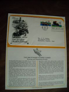 1980 Summer Olympics  first day cover    Postal Commemorative Society Display page with envelope / Rowing and Equestrian - For Sale At Wenzel Thrifty Nickel ecrater store